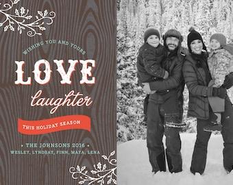 Rustic Printable 5x7 Christmas Card with Photos