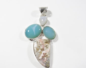 Large Multi Stone Pendant, Moonstone, Crazy Lace Agate, Chalcedony, Druzy Gem Sterling Silver Pendant, 77x38mm, Sterling Gemstone Jewelry