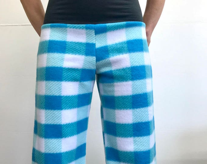 Blue Plaid- High Waistband in Bamboo- Party Pajamas by So-Fine
