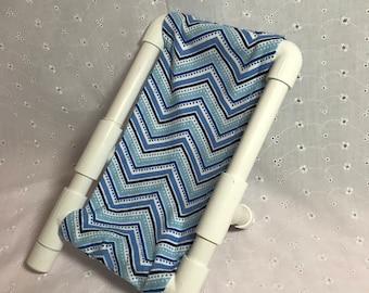 """18"""" Ametican Doll Beach Chair Blue Chevron Pattern"""