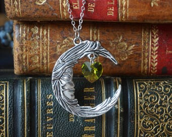 "Necklace ""Moon and Swarovski Heart"""