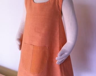 Hand dyed colourblock 100% cotton little girls dress