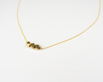 Gold Nugget Necklace / Gold Chunk on Gold Plated Chain