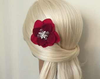 Red Flower Hair Piece, Ivory Pearl/Rhinestone Bridal Hair Comb, Wedding Accessories, Silver