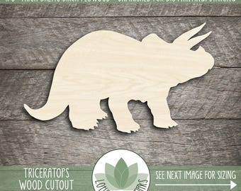 Wood Triceratops Laser Cut Shape, Wooden Dinosaur Shapes, Dinosaur Party Decorations, Party Favors, Dinosaur Room Decor, Many Sizes & Shapes