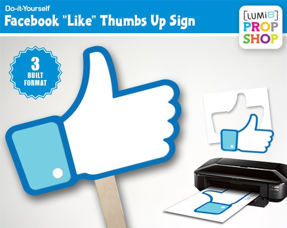 Facebook like thumbs up photo booth prop signs solutioingenieria Choice Image
