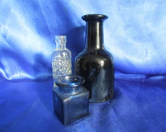 Collection of 3 Vintage Glass Bottles, in Black, Blue and Clear Hobnail Pattern