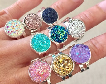 Sparkly Bright Silver Adjustable Faux Druzy Ring 12mm Silver Color Setting Druzy Ring Silver