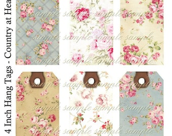 INSTANT DOWNLOAD Floral Value Pack - 2 Sheets - 14 tags in all  - Collage Sheet - Printable Download - Gift Tags