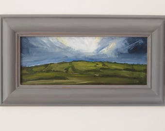 Panorama Oil Painting, Small Painting, Original Artwork, Landscape Painting, Clouds, Sky, Countryside, Green Hills, Blue Sky, Grey Sky