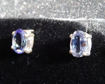 Highest Grade 8x6mm Tanzanite Sterling Silver Earrings