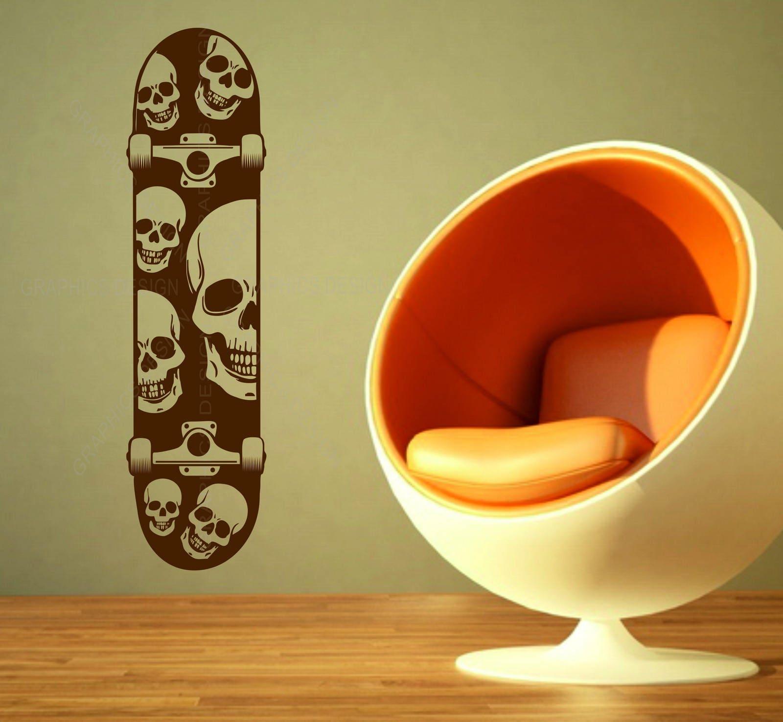 Skateboard Skeleton Skate Candy Sugar Skull Decor Vinyl Wall Sticker ...