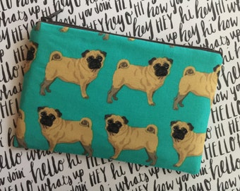 Pug zipper pouch - Dog lovers bag - dog gifts - pug bag- pug mom gift - pug love - small clutch - zip pouch - pug coin pouch - pugs