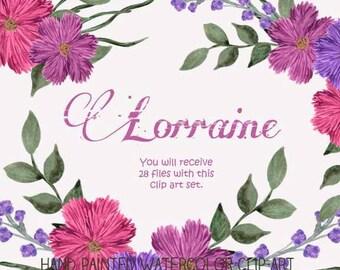Instant Download - Hand Painted Watercolor Pink Purple Flowers Floral Arrangement Clip Art Set - Item# 101 Lorraine