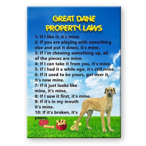 Great Dane Property Laws Fridge Magnet No 5