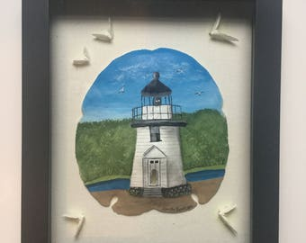 Mystic River Lighthouse Sand Dollar Painting