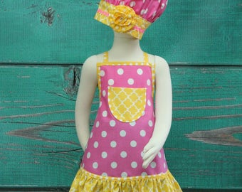 Kids Apron, Childrens Aprons, Little Girls Apron, Girls Apron Set, Chefs Set, Polka Dot Apron, Ruffle Apron, Child's Apron, Toddler Apron