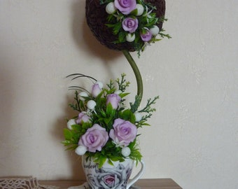 Birthday gift,clay flower,for her,purple flowers,for mom,floral decor,topiary,tenderness,bridal,porcelain flowers,violet,artificial flower