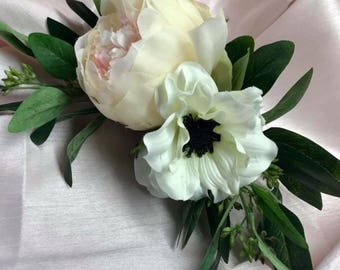 Blush Peony, Anemone, and Eucalyptus  Cake Flowers by The Chattanooga Wreath Company