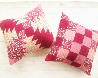 Patchwork pillow quilted burgundy decorative throw small cozy sofa cushion beige pink roses flowers checked pineapple chess board home decor