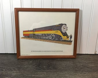 Vintage Daylight Train Railroad Picture-Railroad Picture Print-Framed Train Picture-Railroad Memorabilia-Southern Pacific Railroad