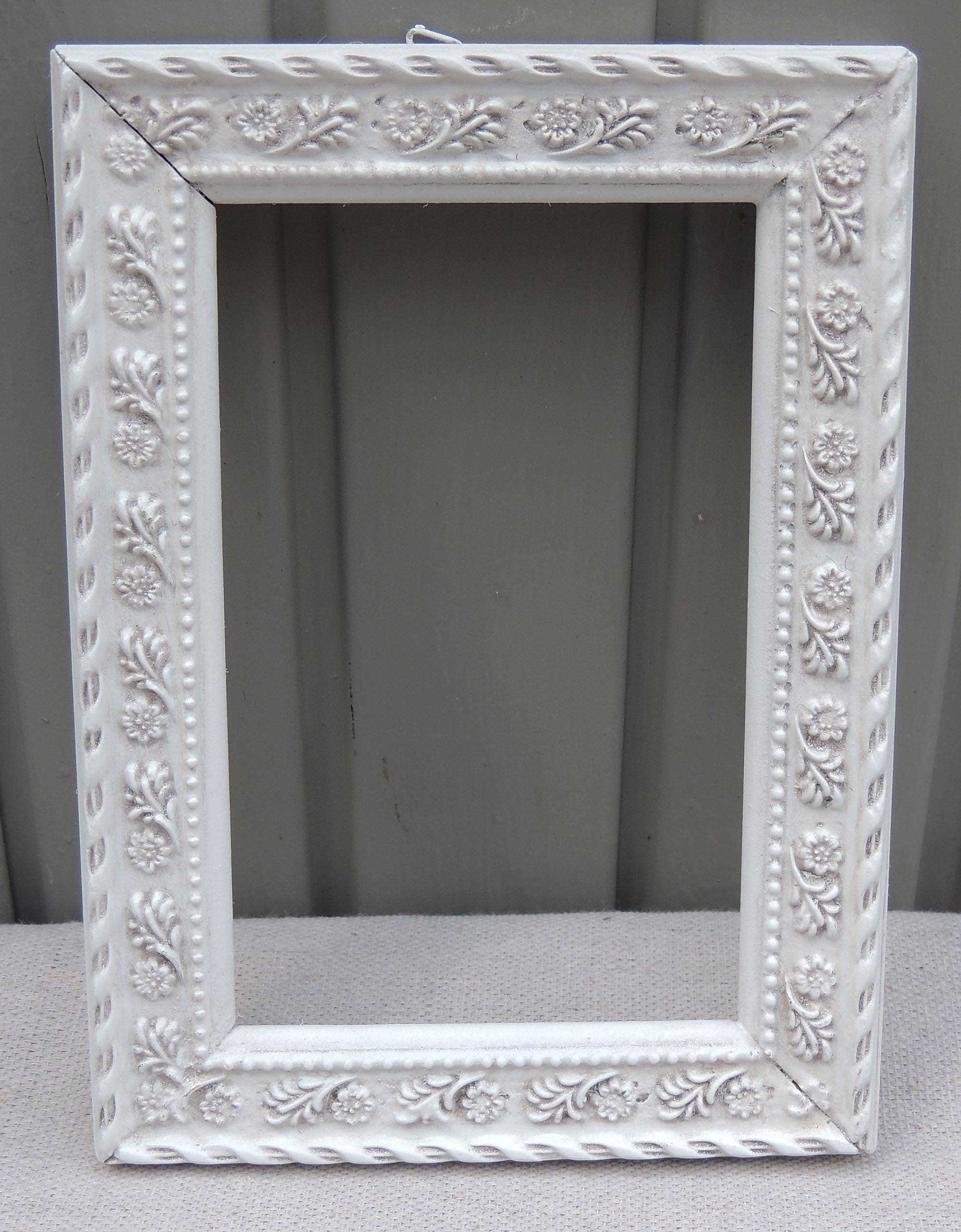 4x6 Ornate White Frames, White Picture Frame with Glass and Easel ...