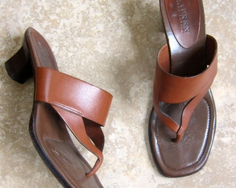Vintage 1990s Chunky Heel Slides by Ralph Lauren / 90s Designer Brown Leather Mules Shoes Size 9 1/2 B