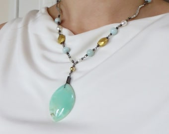 Australian Chrysoprase Amazonite Pearl Silver Waves Artisan Necklace