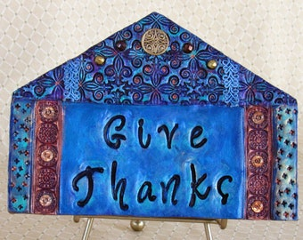 Mosaic Wall Art - Give Thanks - Wall Art - Inspirational Words -  Mosaic -  Blue - Mixed Media - Gratitude - Thankful - Gold Celtic Charm
