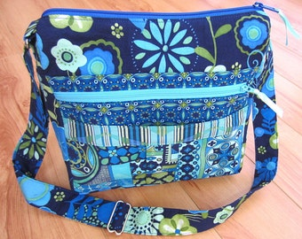 My Easy Going Purse PDF Sewing Pattern Tutorial for Messenger Bag with Zipper Crossbody Purse by My Funny Buddy