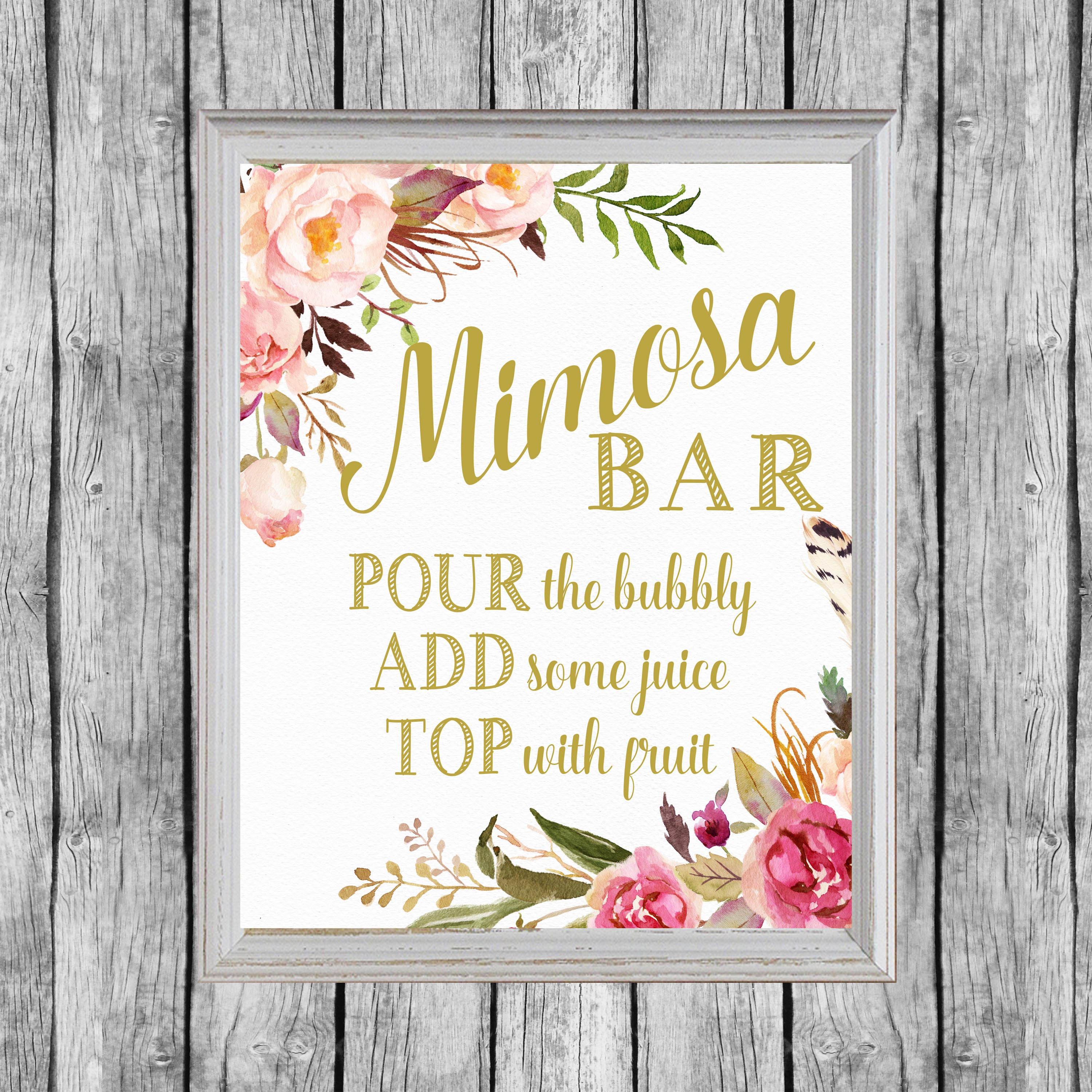This is a graphic of Declarative Mimosa Bar Sign Printable