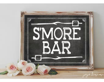 Instant 'S'MORE BAR' Printable 8x10, 11x14 Sign Chalkboard Printable Party Wedding OR Event Party Sign S'more Table
