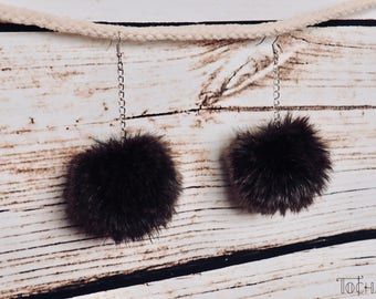 Pompom Earrings/Clip on, Faux Fur, fake fur, cruelty-free