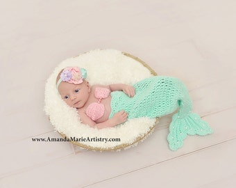 Ariel Mermaid Outfit -Disney Mermaid- Newborn Mermaid Tail & Flowers, Pearl Starfish HEADBAND or Crown,crochet baby shower gift, Photo Prop