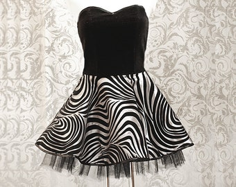 Corset-dress with petticoat, goth, rockabilly