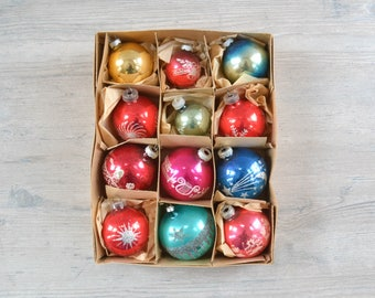 Vintage Glass Shiny Brite Ball Ornaments - Stencil Glitter Antique Midcentury Christmas Austria West Germany Tree