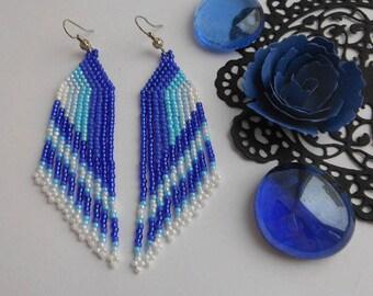 Beadwork earrings Blue beaded earrings Handmade gift jewelry earrings Long dangle earrings Blue drop earrings Boho earrings Fringe earrings