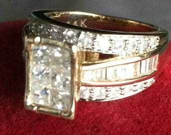 14K Diamond Ring Magnificent Statement Ring, 2 Carat Diamonds, Baguettes, 52 Brilliant Diamonds, 8 Grms, Size O, Stamped 14K, LAYAWAYS,