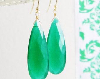 Long Faceted Green Onyx Teardrop Earrings