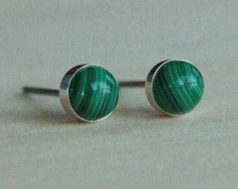 Malachite Gemstone 6mm Bezel Set on Niobium or Titanium Posts (Hypoallergenic Stud Earrings for Sensitive Ears)