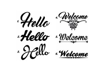 "Door decal! Choose from ""Hello"" or ""Welcome"" design for your home."