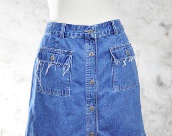 Vintage Gap Button Up, Denim Skirt - High Waisted 90s Jean Skirt - Grunge, Frayed, Distressed Skirt - Size 10, Medium