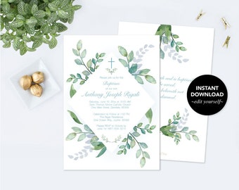 Winter Baptism Greenery Invitation, Winter Greenery Invite, Printable, Customizable Text Baptism Invitation, Boy Greenery Baptism Invitation