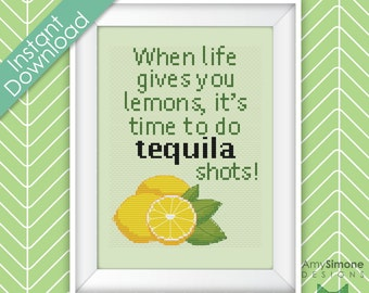 Tequila Shots Alcohol Quote Cross Stitch Pattern