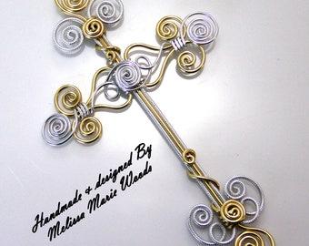 Silver & Gold Cross Ornament