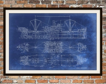 Blueprint Art of Ship Technical Drawings Engineering Drawings Patent Blue Print Art Item 0001