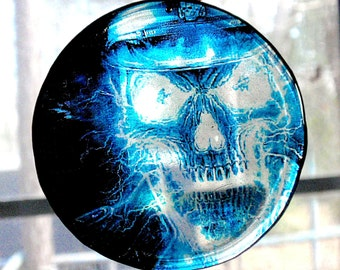 Fractal Electric Skull Acrylic Sun Catcher Stained Glass Decoration Pendant Hangy Thing Christmas Ornament Dangle Electrified Skull  D1