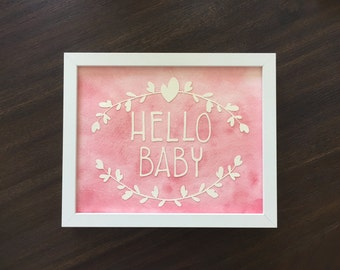 Hello Baby Watercolor Art - 8x10 Framed