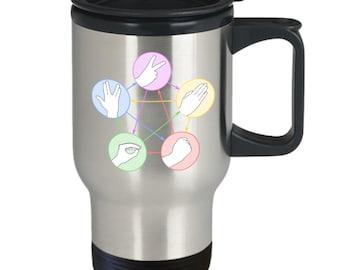 Rock paper scissors lizard spock coffee mug (travel) 16oz the big bang theory coffee mug - the big bang theory gift merchandise cup