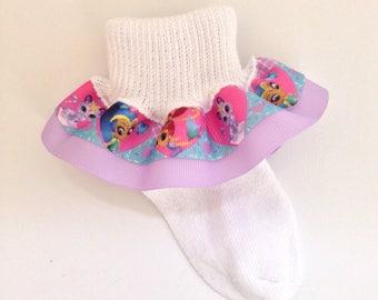 Shimmer and Shine Ruffle Socks - Shimmer and Shine Socks - Ruffle Socks - Character Girls Socks - Toddler Socks